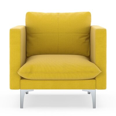 Crofoot Armchair Upholstery: Daffodil, Finish: Brass