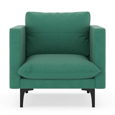 Crofoot Armchair Upholstery: Teal, Finish: Black
