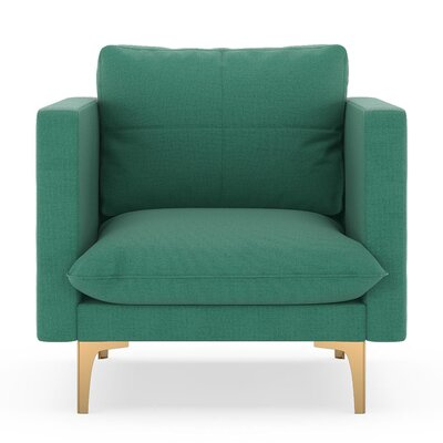 Crofoot Armchair Upholstery: Teal, Finish: Chrome