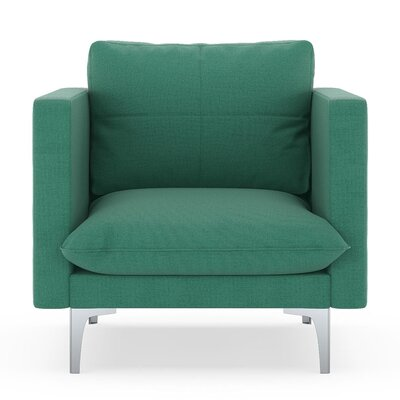 Crofoot Armchair Upholstery: Teal, Finish: Brass