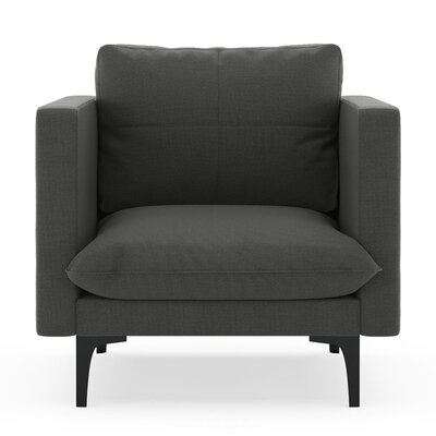 Crofoot Armchair Upholstery: Graphite, Finish: Black