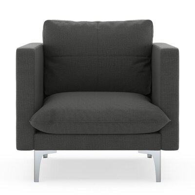 Crofoot Armchair Upholstery: Graphite, Finish: Brass