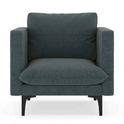 Crofoot Armchair Upholstery: Ocean Gray, Finish: Black