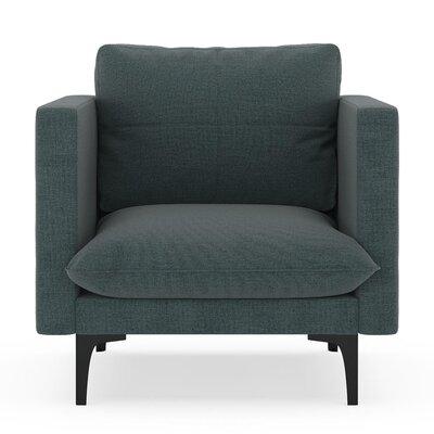 Crofoot Armchair Upholstery: Ocean Gray, Finish: Black