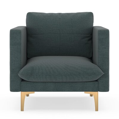 Crofoot Armchair Upholstery: Ocean Gray, Finish: Chrome