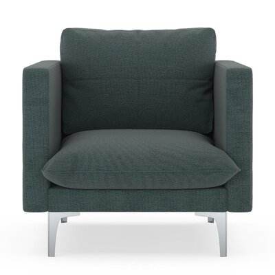 Crofoot Armchair Upholstery: Ocean Gray, Finish: Brass