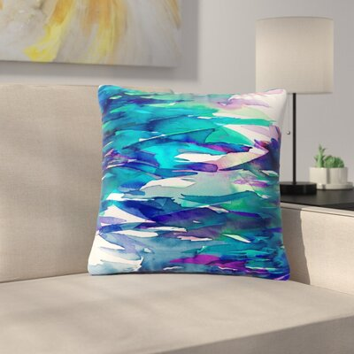 Ebi Emporium Fervor  Abstract Outdoor Throw Pillow Size: 18 H x 18 W x 5 D, Color: Blue/Teal