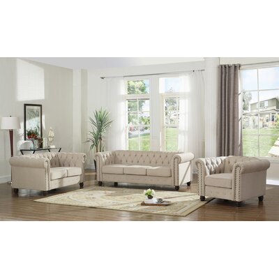Dineen 3 Piece Living Room Set Upholstery : Beige