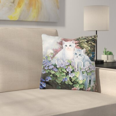 Kittens in The MasterS Garden Throw Pillow