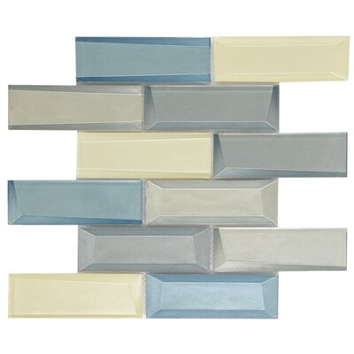 Iscicle Palace 3 x 6 Marble Subway Tile in Blue/Yellow
