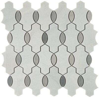 Santorini Geo Random Sized Marble Mosaic Tile in Gray/White
