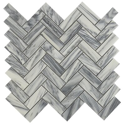Herringbone 1 x 2 Marble Mosaic Tile in Gray/White