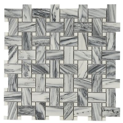 Weaving 1 x 2 Marble Mosaic Tile in Gray/White