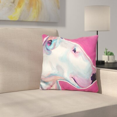 Bull Terrier Bubble Gum Throw Pillow