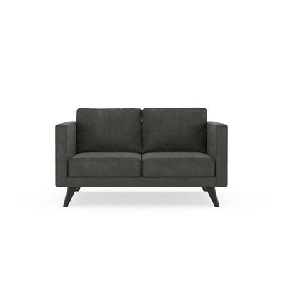 Crosslin Loveseat Upholstery: Charcoal, Finish: Black