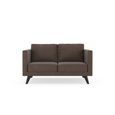Crosslin Loveseat Upholstery: Mocha, Finish: Black