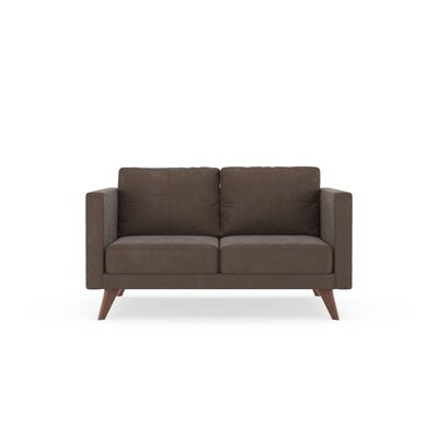Crosslin Loveseat Upholstery: Mocha, Finish: Brass