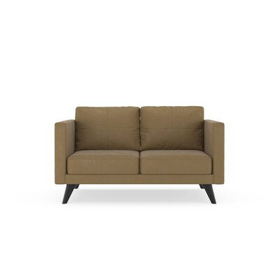 Crosslin Loveseat Upholstery: Hazelnut, Finish: Black