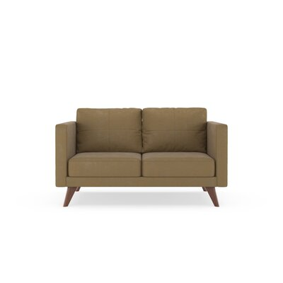 Crosslin Loveseat Upholstery: Hazelnut, Finish: Brass