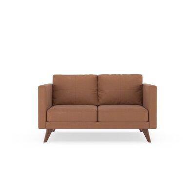Crosslin Loveseat Upholstery: Whiskey, Finish: Brass