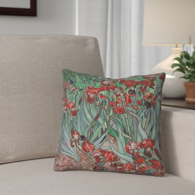 Morley Irises Double Sided Print Pillow Cover Color: Red, Size: 18 x 18