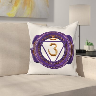 Asian Ethnic Chakra Square Pillow Cover Size: 24