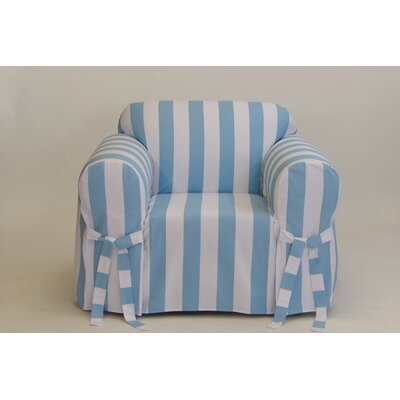Stripe Box Cushion Armchair Slipcover Upholstery: Blue/White