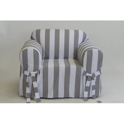 Stripe Box Cushion Armchair Slipcover Upholstery: Gray/White
