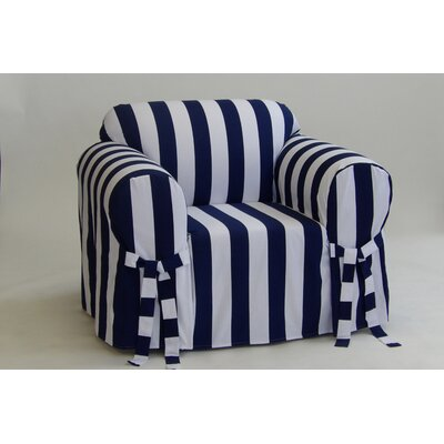 Stripe Box Cushion Armchair Slipcover Upholstery: Navy/White