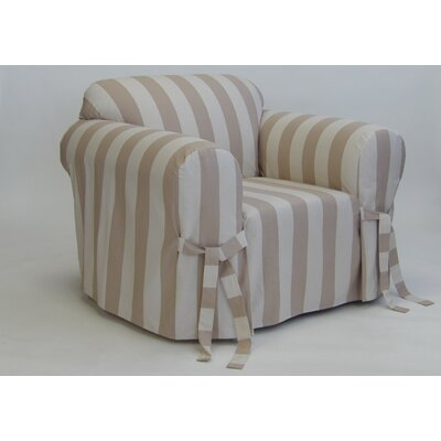 Stripe Box Cushion Armchair Slipcover Upholstery: Taupe/Cream