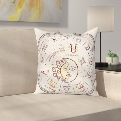 Zodiac Astrological Horoscope Square Pillow Cover Size: 18 x 18