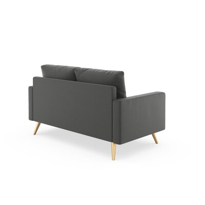 Rupert Loveseat Upholstery: Graphite, Finish: Brass