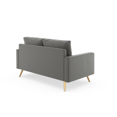 Rupert Loveseat Upholstery: Pebble, Finish: Brass