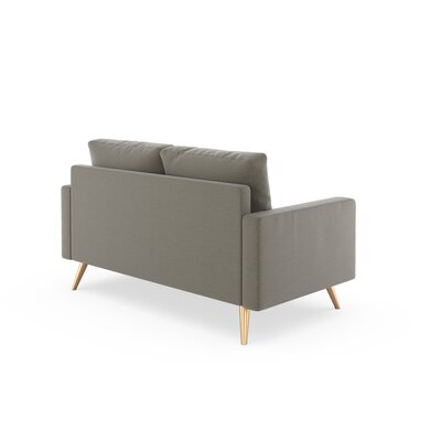 Rupert Loveseat Upholstery: Smoke, Finish: Brass