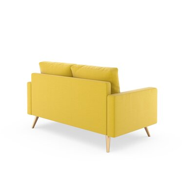 Rupert Loveseat Upholstery: Daffodil, Finish: Brass