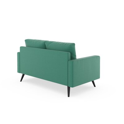 Rupert Loveseat Upholstery: Teal, Finish: Chrome