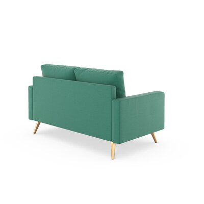 Rupert Loveseat Upholstery: Teal, Finish: Brass