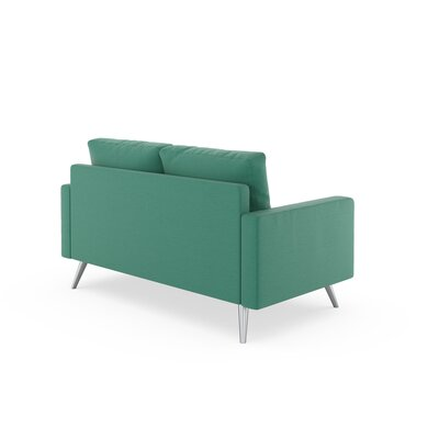 Rupert Loveseat Upholstery: Teal, Finish: Black