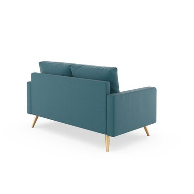 Rupert Loveseat Upholstery: Aegean Blue, Finish: Brass