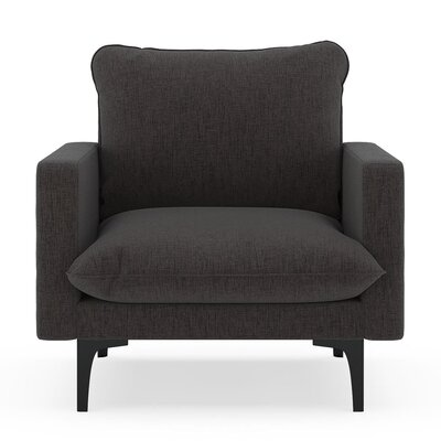 Russell Armchair Upholstery: Heathered Slate, Finish: Black