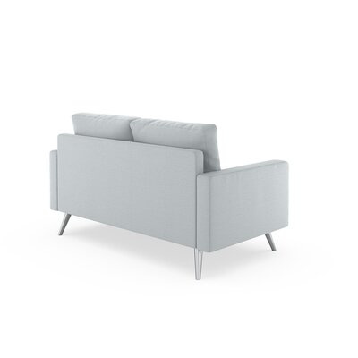 Rupert Loveseat Upholstery: Light Steel, Finish: Black
