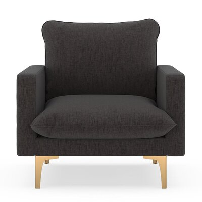 Russell Armchair Upholstery: Heathered Slate, Finish: Chrome