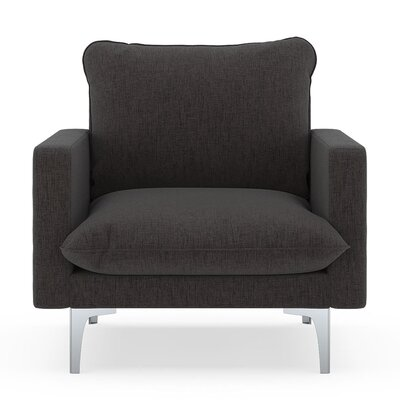 Russell Armchair Upholstery: Heathered Slate, Finish: Brass