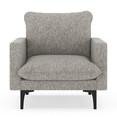 Russell Armchair Upholstery: Heathered Taupe, Finish: Black