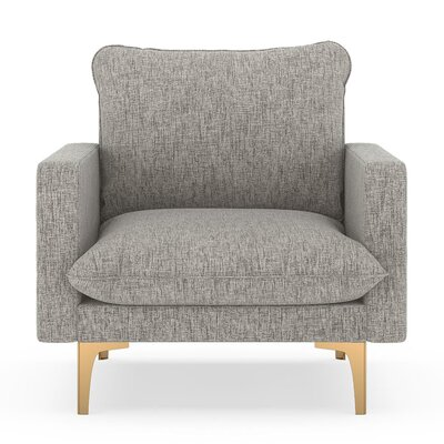 Russell Armchair Upholstery: Heathered Taupe, Finish: Chrome