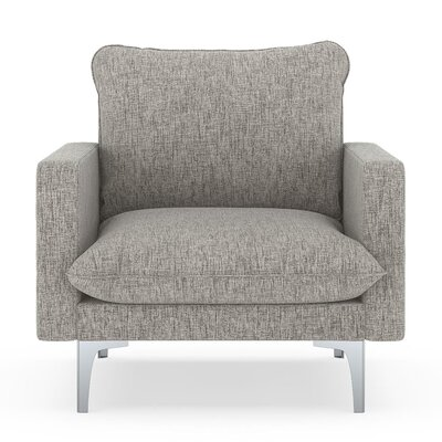 Russell Armchair Upholstery: Heathered Taupe, Finish: Brass