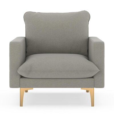 Russell Armchair Upholstery: Cinder Gray, Finish: Chrome