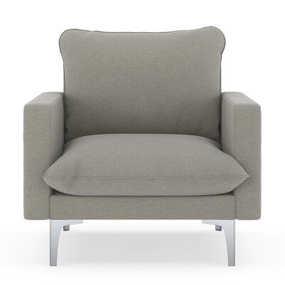 Russell Armchair Upholstery: Cinder Gray, Finish: Brass