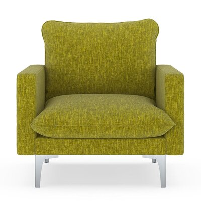 Russell Armchair Upholstery: Avocado, Finish: Brass