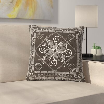 Famenxt Paisley Into the Dreams Dark Digital Outdoor Throw Pillow Color: Dark Gray, Size: 16